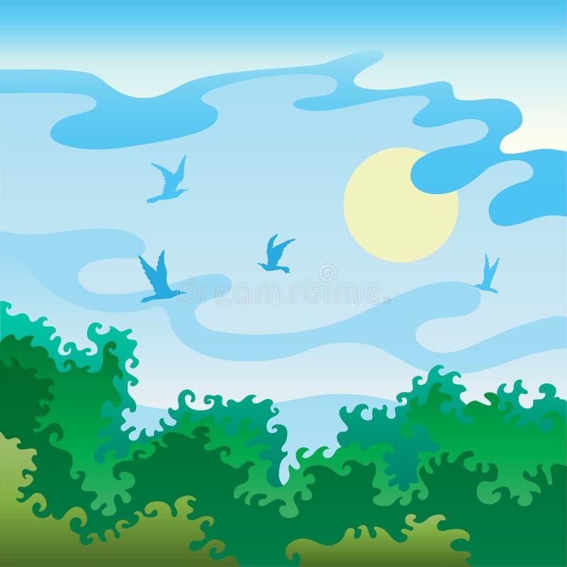 与鸟的夏天风景 库存例证