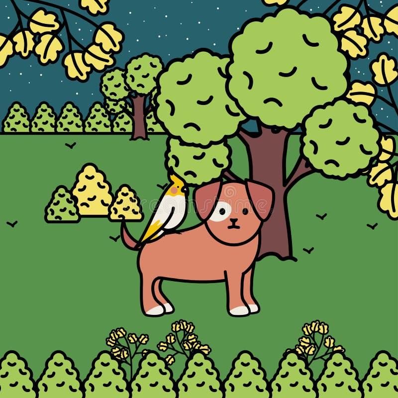 与鸟的小犬座在公园 库存例证