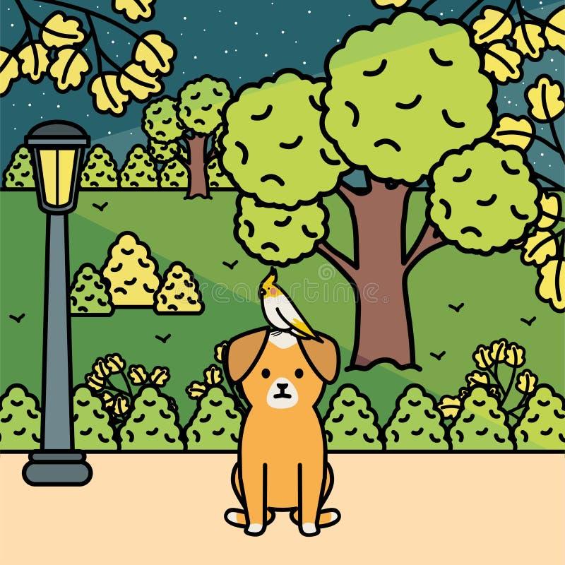 与鸟的小犬座在公园 向量例证
