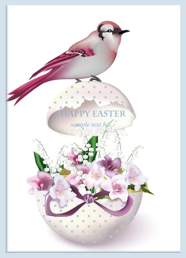 与鸟的愉快的复活节卡片坐破裂的蛋和春天百花香 葡萄酒减速火箭的样式明信片 库存例证