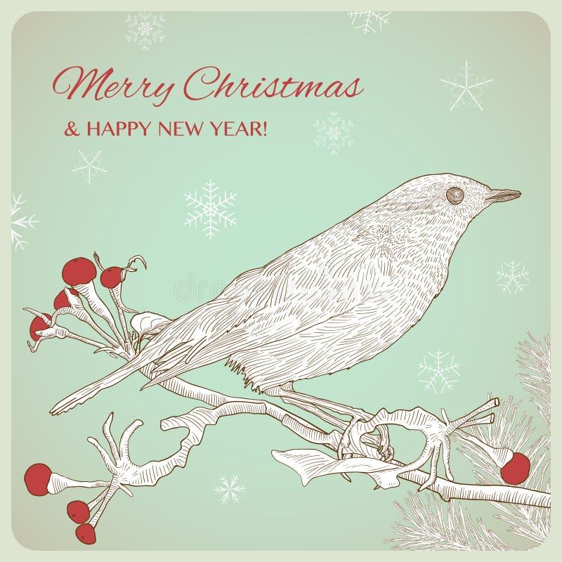 与鸟的手拉的圣诞节贺卡坐枝杈 向量例证