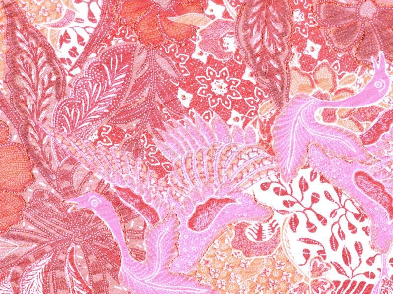 与鸟的桃红色和白色抽象样式 免版税图库摄影