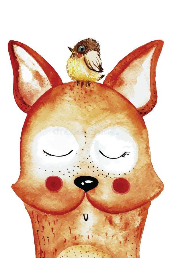 与鸟的滑稽的水彩狐狸在头 免版税库存图片