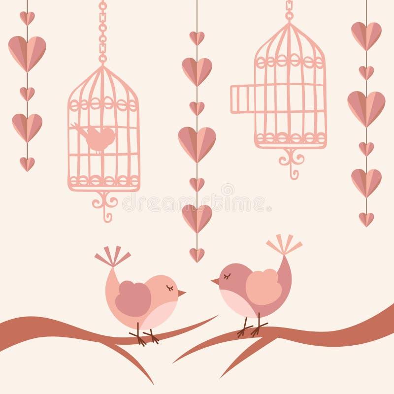 与鸟的爱看板卡 皇族释放例证