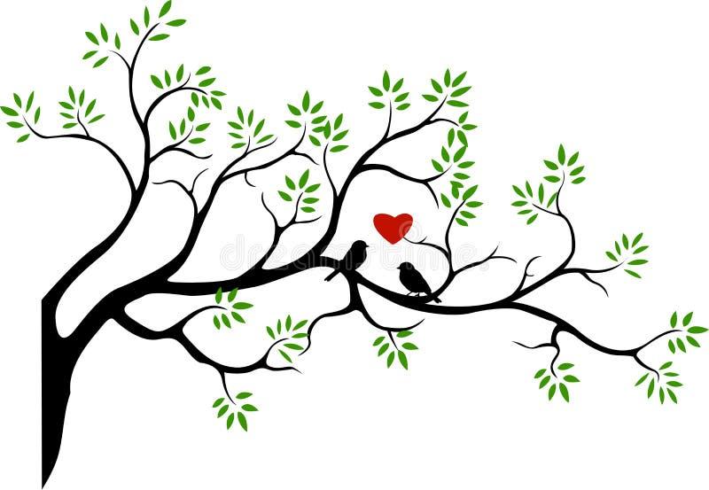 与鸟的结构树剪影 向量例证