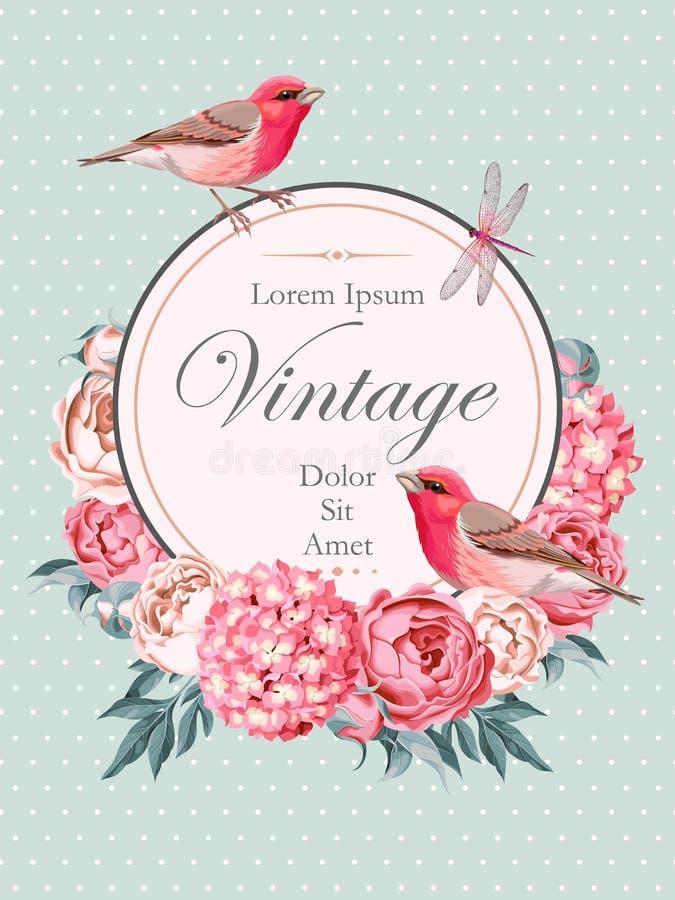 与鸟的美丽的葡萄酒传染媒介卡片 库存例证