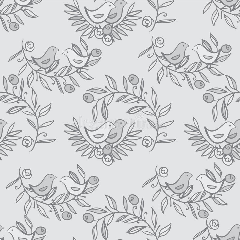 与鸟的葡萄酒花卉无缝的背景 向量例证