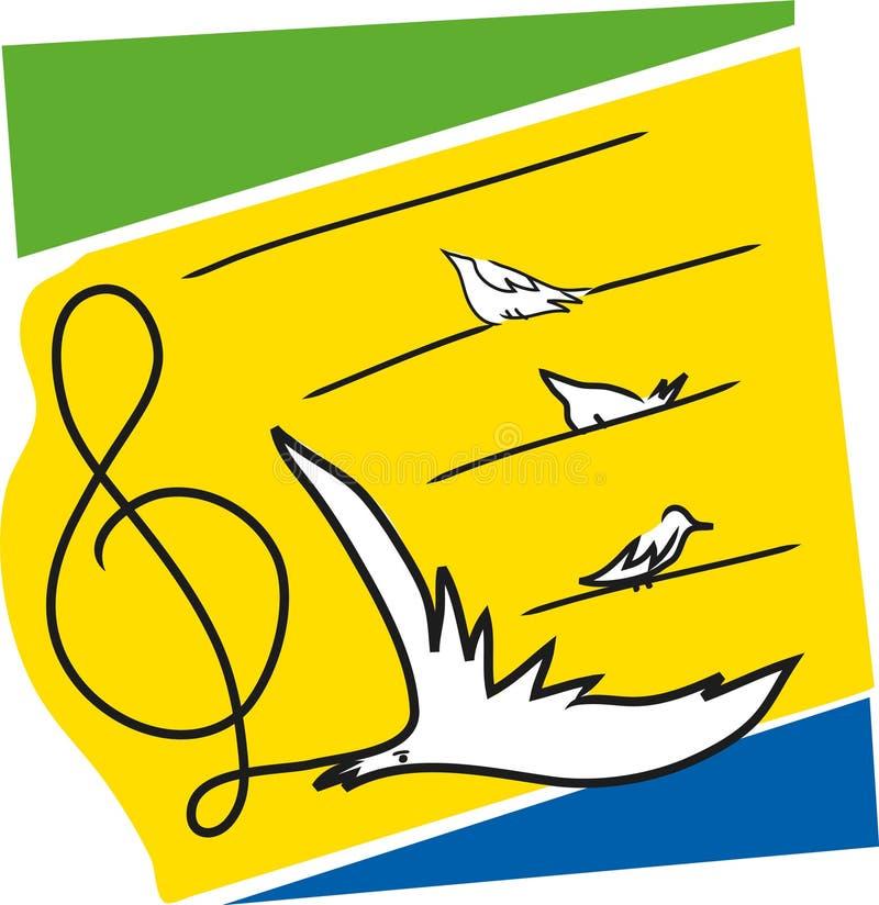 与鸟的音乐笔记 向量例证