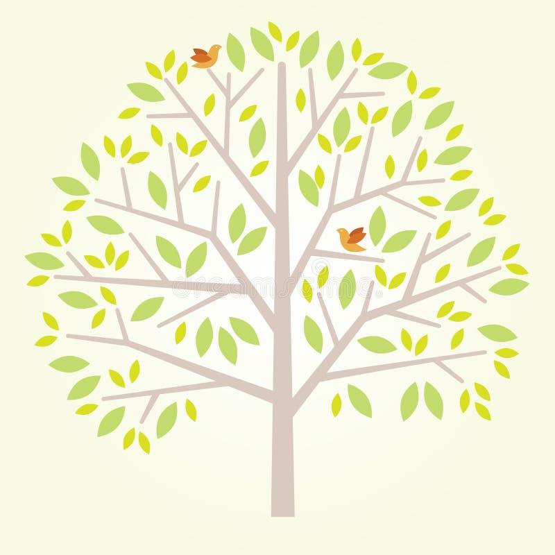 与鸟的风格化树 库存例证