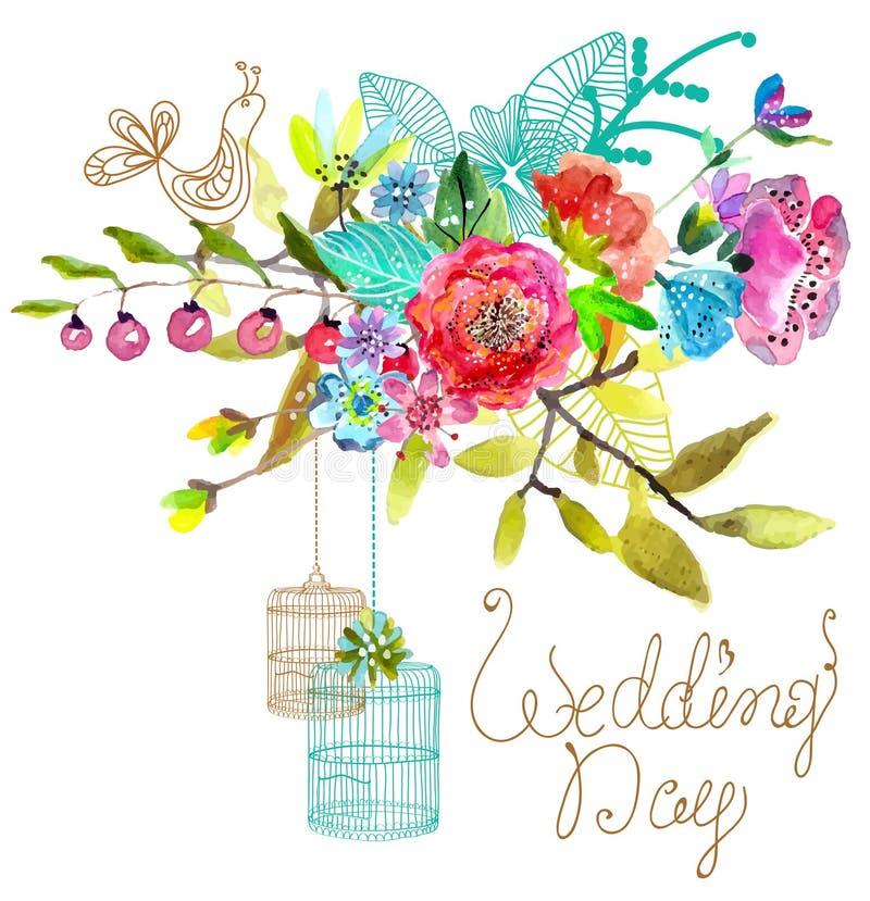 与鸟笼的水彩花卉背景美好的desig的 库存例证