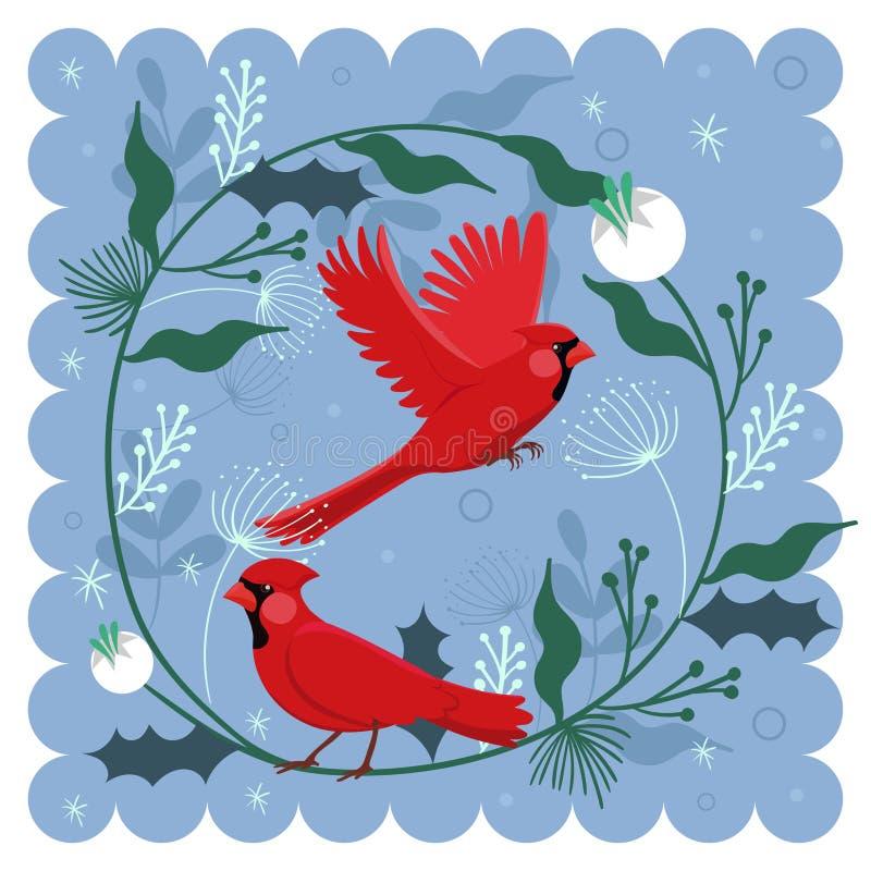 与鸟红色主要和植物主题的装饰构成 r 向量例证