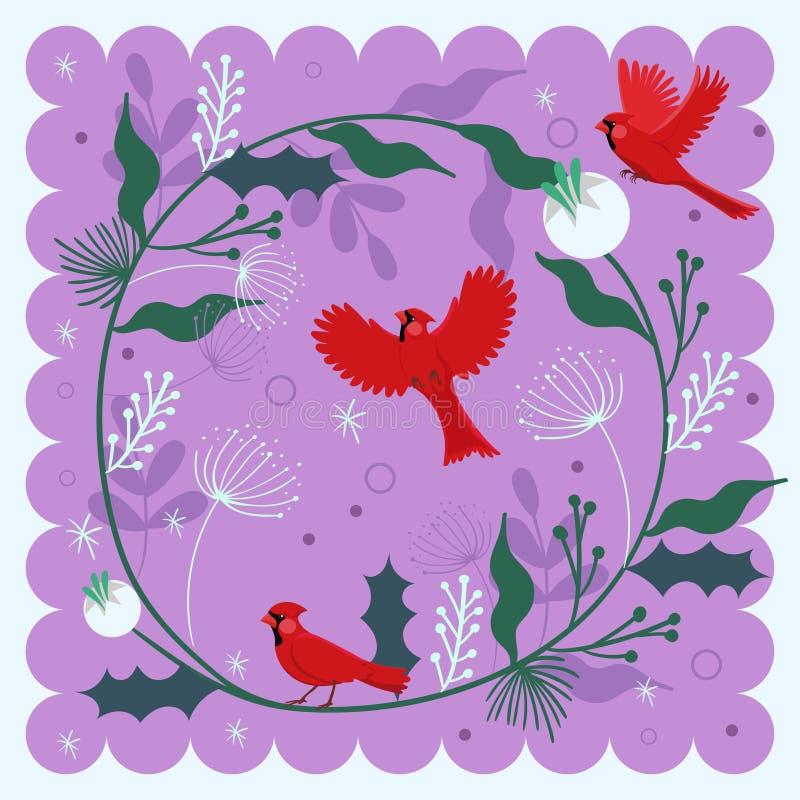 与鸟红色主要和植物主题的装饰构成 r 库存例证
