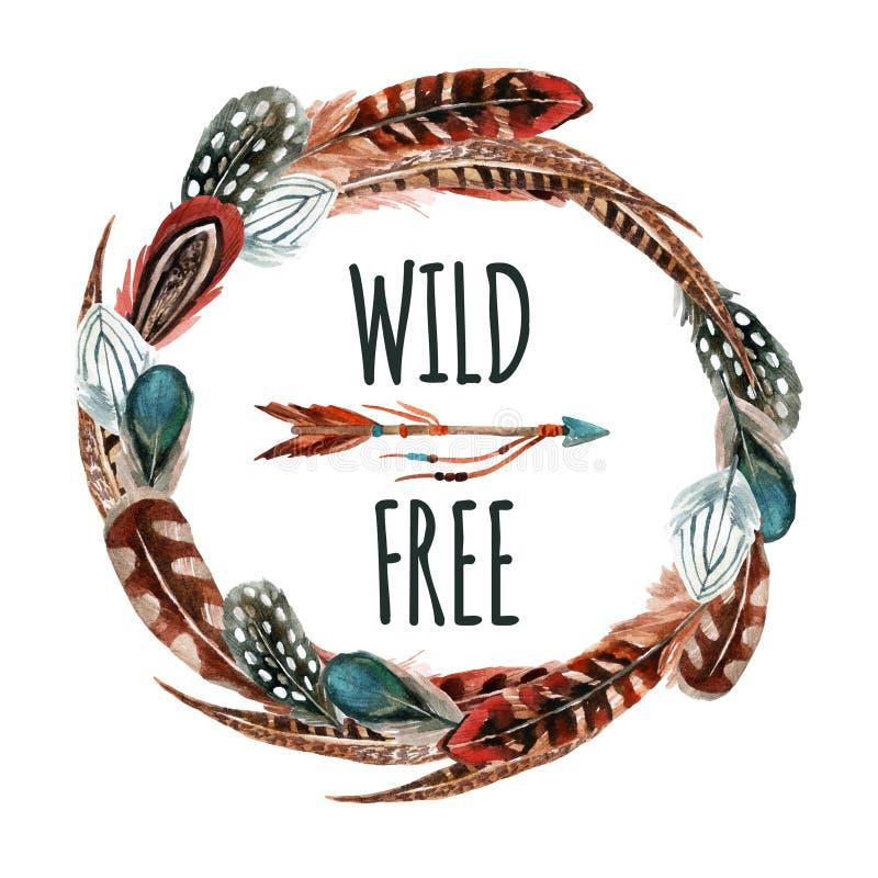 与鸟羽毛的水彩在白色背景隔绝的花圈和箭头 库存例证