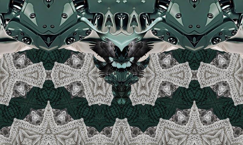 与鸟,编织和机械的现代印刷品 灰色绿色 向量例证