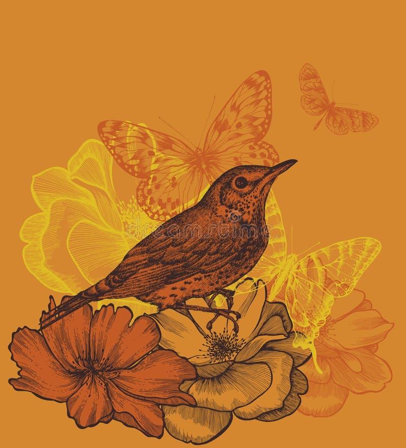 与鸟黑鹂的花卉背景,开花  库存例证