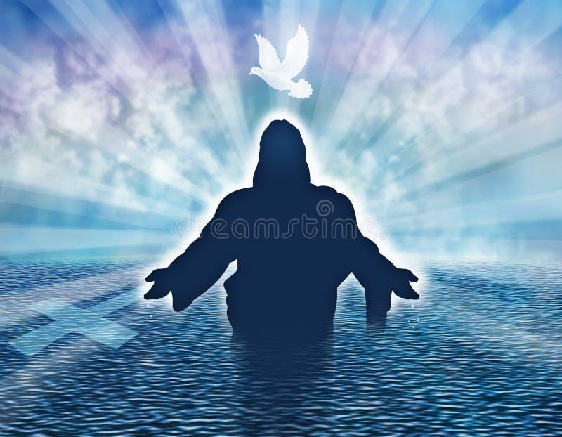 与鸠和人剪影的基督徒洗礼例证概念在海 向量例证