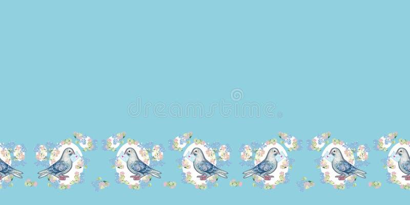与鸠和信封的蓝色边界 向量例证