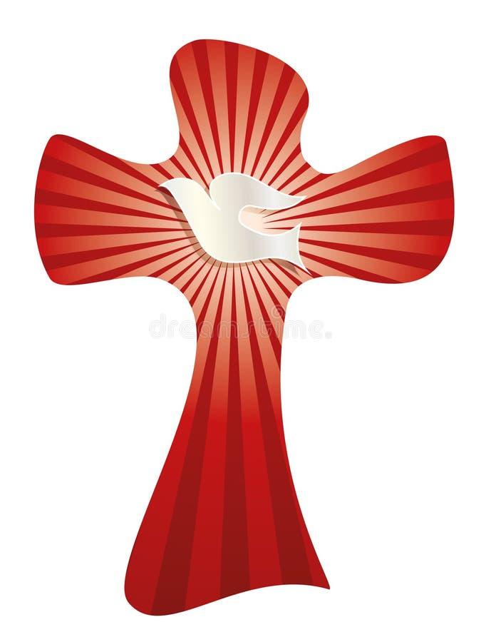 与鸠的被隔绝的传染媒介基督徒十字架和在红色背景的明亮的光芒 皇族释放例证
