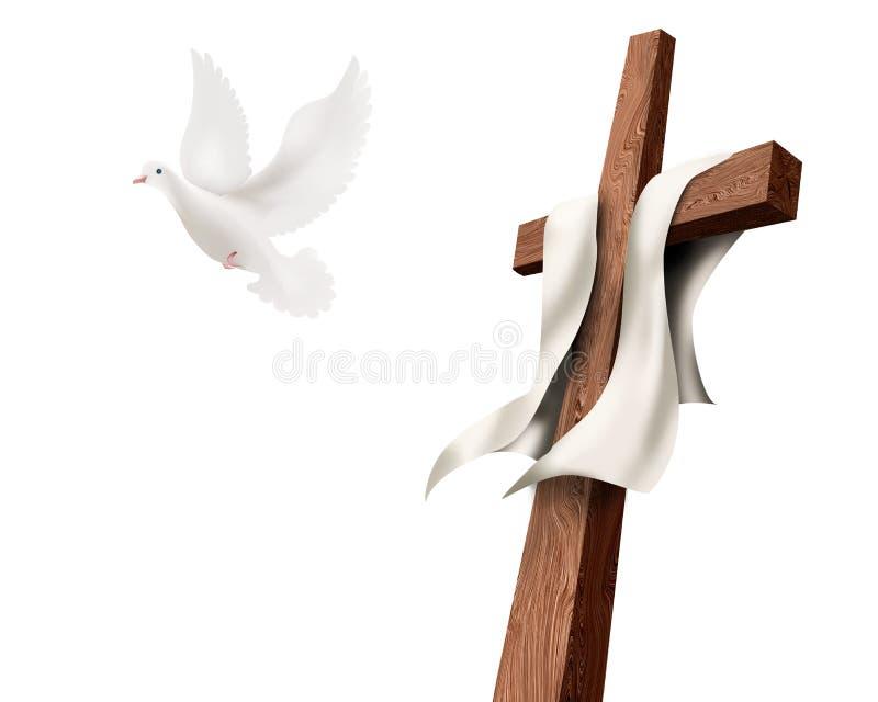 与鸠飞行的被隔绝的基督徒十字架被隔绝的 复活概念 复活节 向量例证