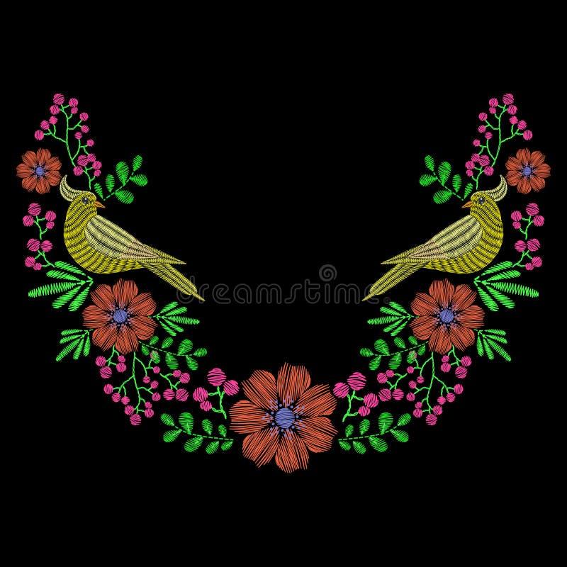 与鸠鸟的刺绣,野花为领口缠绕 Vec 皇族释放例证