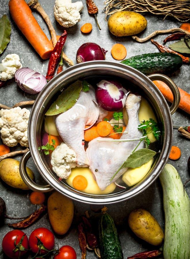 与鸡、菜和香料的汤 免版税图库摄影