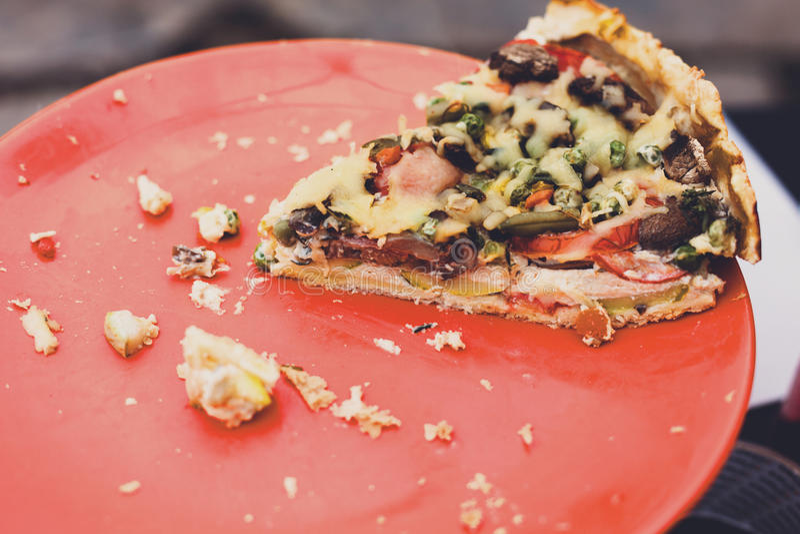 与鸡、蘑菇和乳酪的美味馅饼 图库摄影
