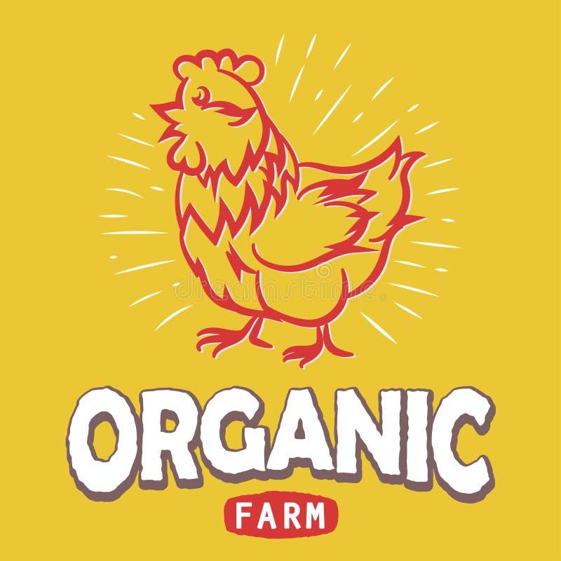 与鸡剪影的标签 任意Eco有机农场 ?? 皇族释放例证