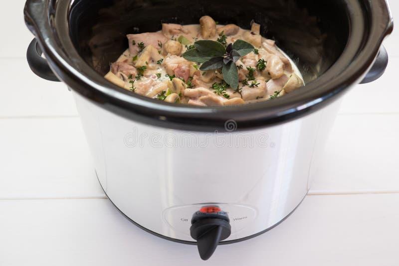 与鸡和草本的缓慢的烹饪器材crockpot膳食 库存图片