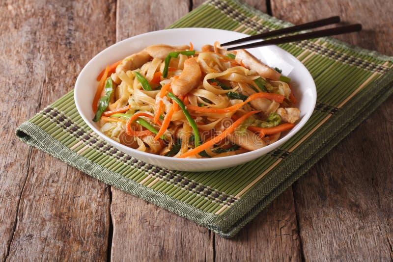 与鸡和菜的周mein,水平 免版税库存照片