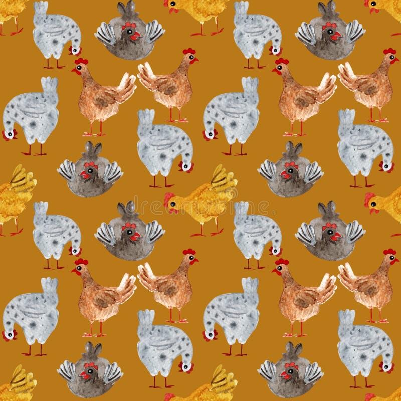 与鸡和雄鸡的动物无缝的样式 手拉的水彩例证,理想对打印在织品,包装 库存例证