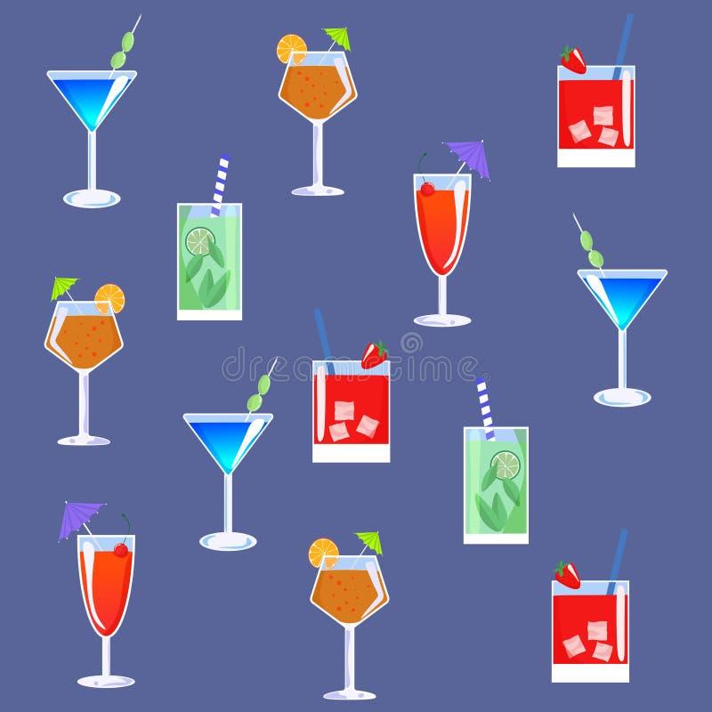 与鸡尾酒的五颜六色的样式 r 向量例证