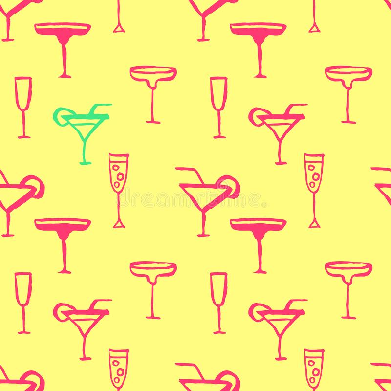 与鸡尾酒的无缝的样式 在黄色背景的玻璃 Grunge向量例证 库存例证