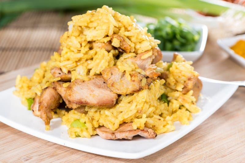 与鸡的咖喱饭 免版税库存照片