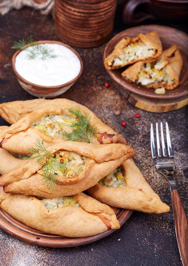 与鸡肉和土豆的饼 可口小美味pirozhki 库存照片