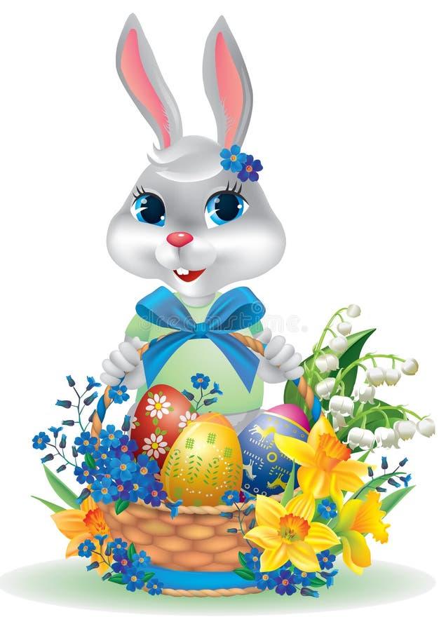 与鸡蛋篮子的复活节兔子。 库存例证
