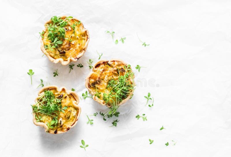与鸡,韭葱,在轻的背景,顶视图的乳酪的微型美味饼 可口开胃菜,快餐,早餐 免版税库存照片