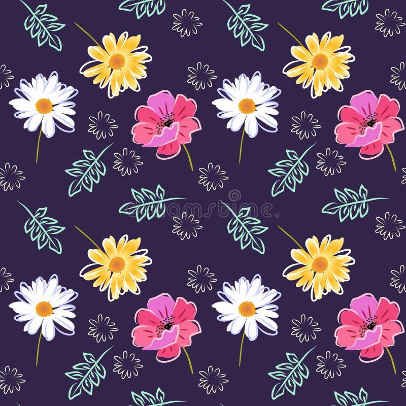 与鸦片、雏菊、万寿菊花和叶子的美好的无缝的样式在黑暗的紫色背景 织品的时兴的印刷品 皇族释放例证