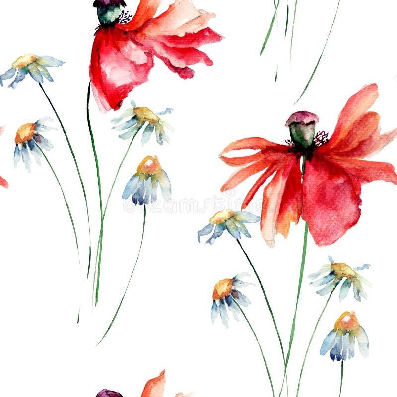 与鸦片和春黄菊的无缝的花卉背景开花 皇族释放例证