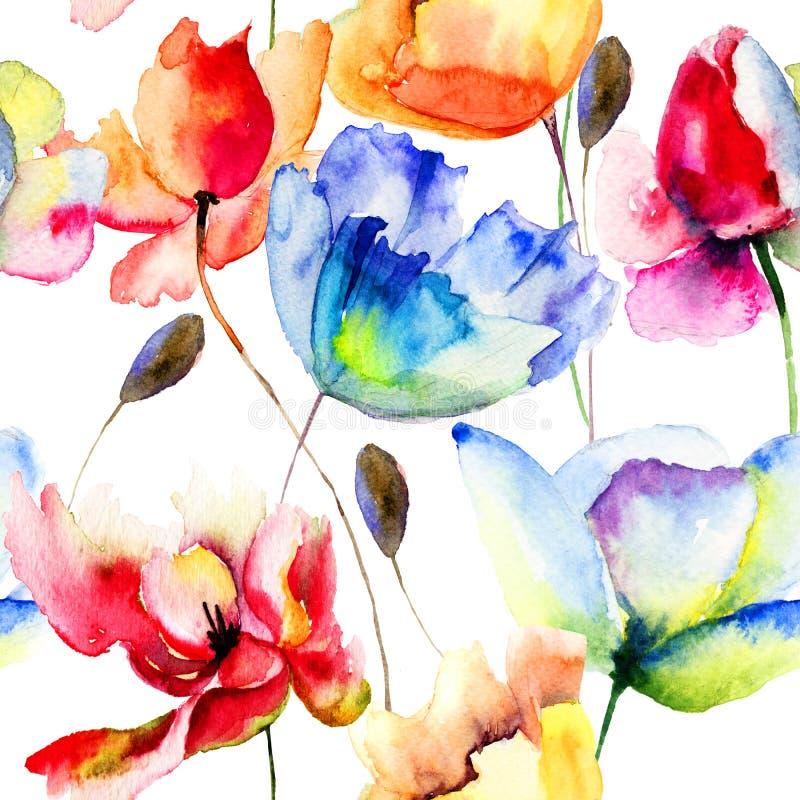 与鸦片和郁金香花的无缝的墙纸 向量例证