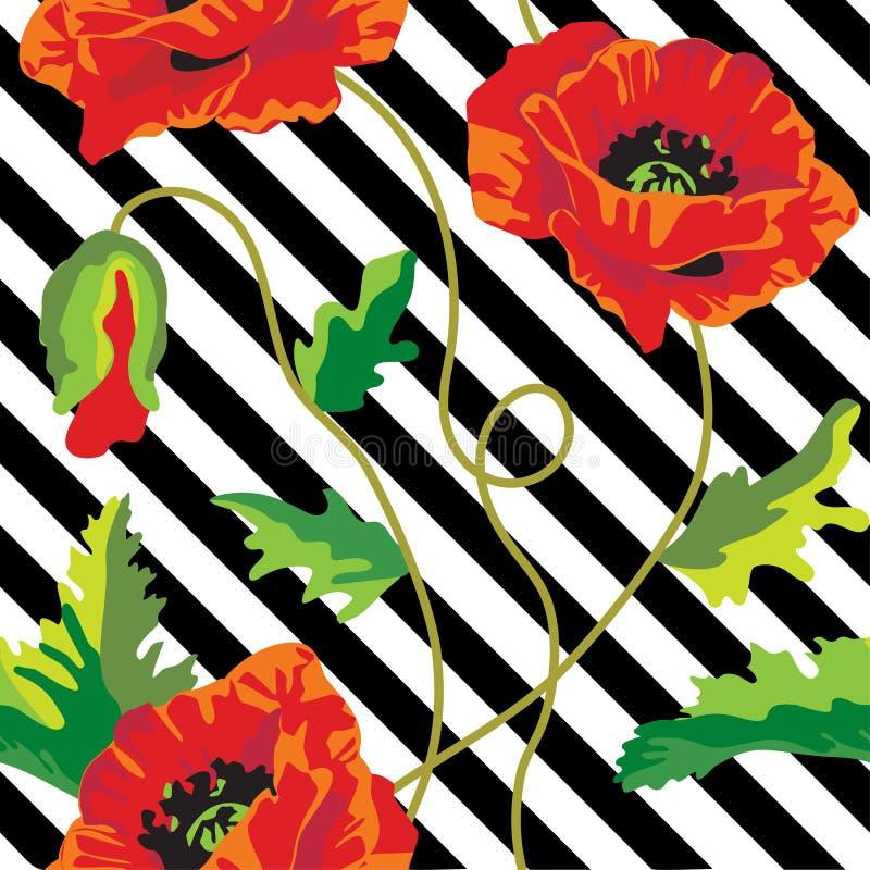 与鸦片的无缝的传染媒介在黑白条纹开花 背景干燥花卉脏的叶子老纸工厂弄脏了葡萄酒 向量例证