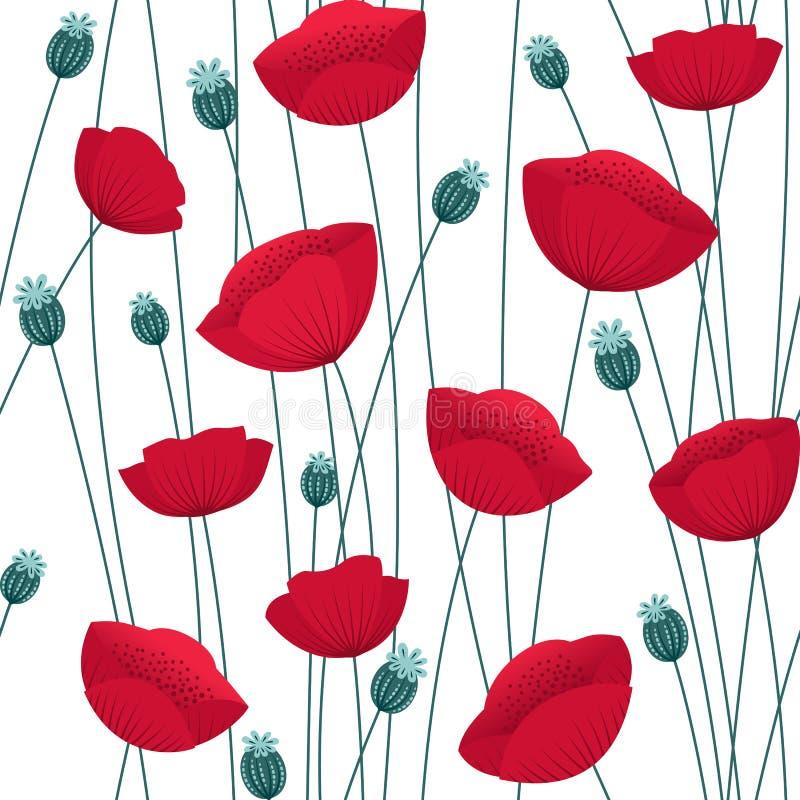 与鸦片的花卉无缝的样式在白色背景开花 皇族释放例证