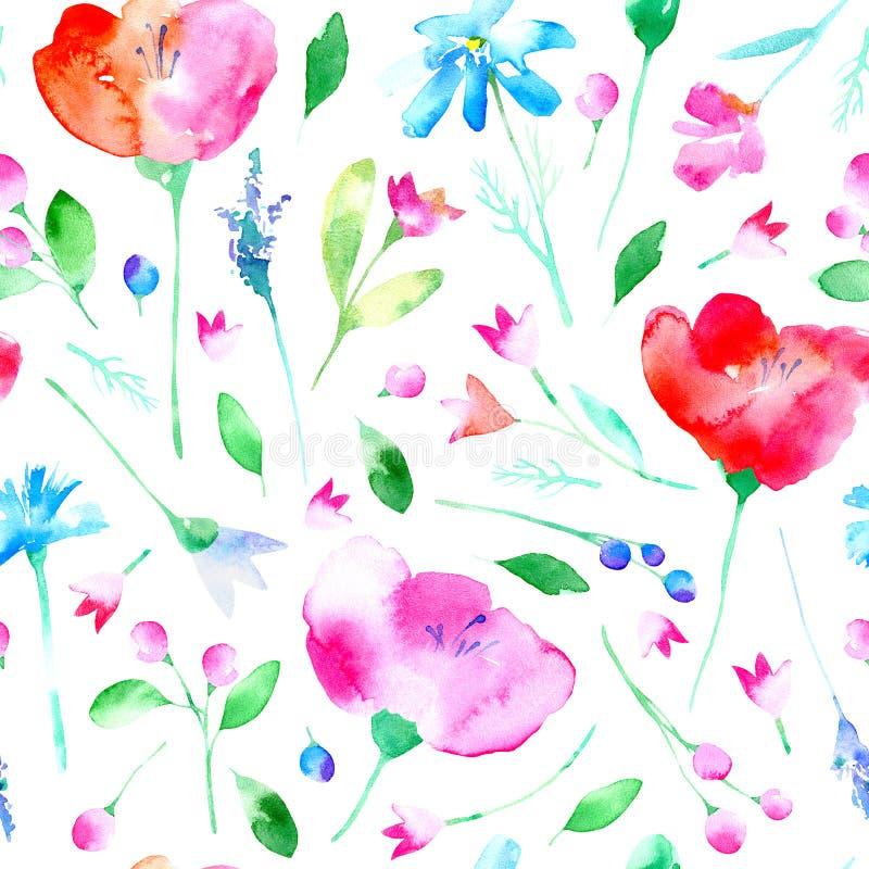 与鸦片花、会开蓝色钟形花的草、淡紫色、矢车菊、春黄菊和雏菊的花卉无缝的样式 向量例证
