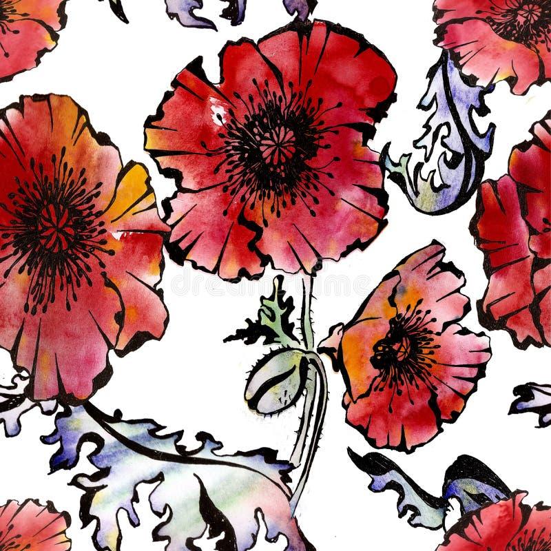 与鸦片花的无缝的花卉样式 库存例证
