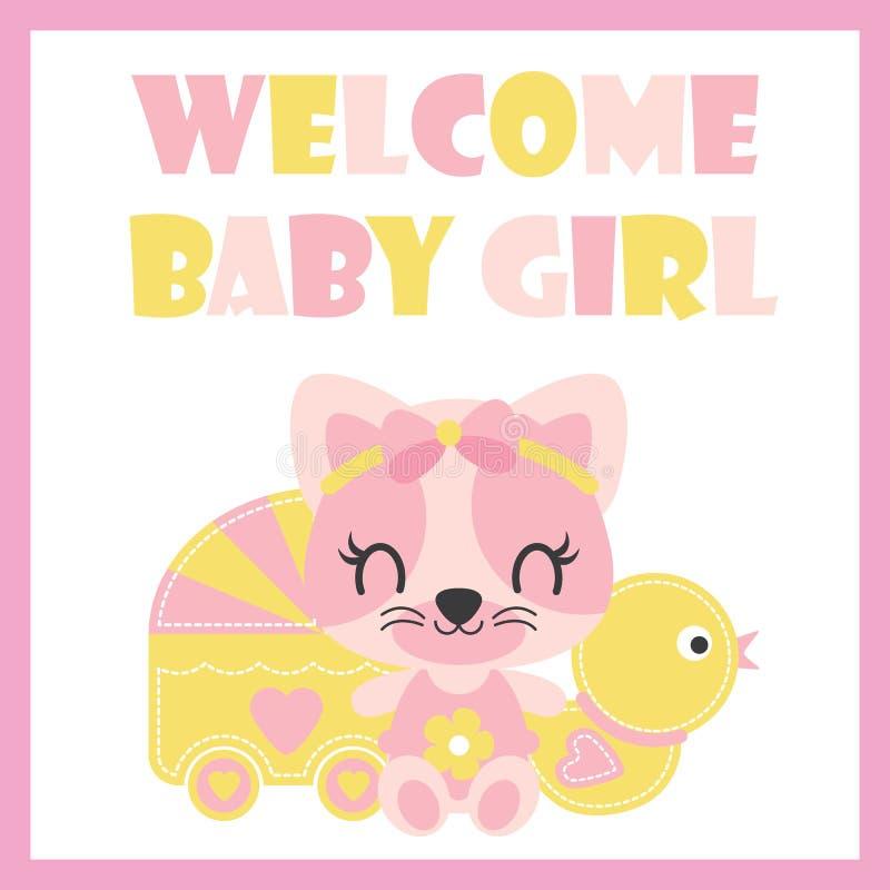 与鸭子玩具的逗人喜爱的小小猫和婴孩用车运送婴儿送礼会卡片设计的动画片例证 向量例证