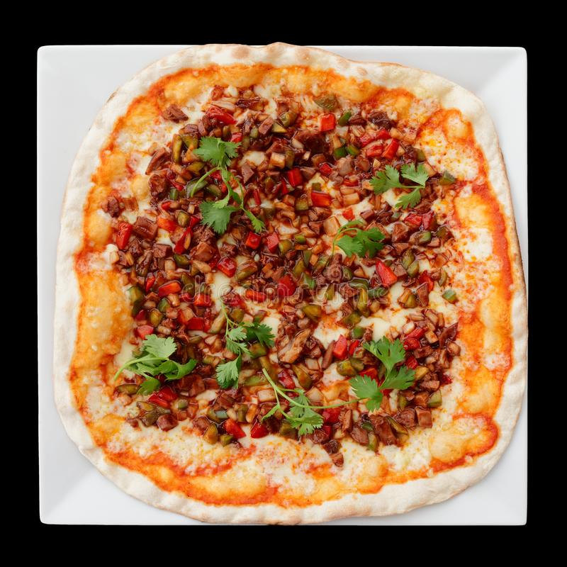 与鸭肉和烤肉汁的比萨,被隔绝 库存图片