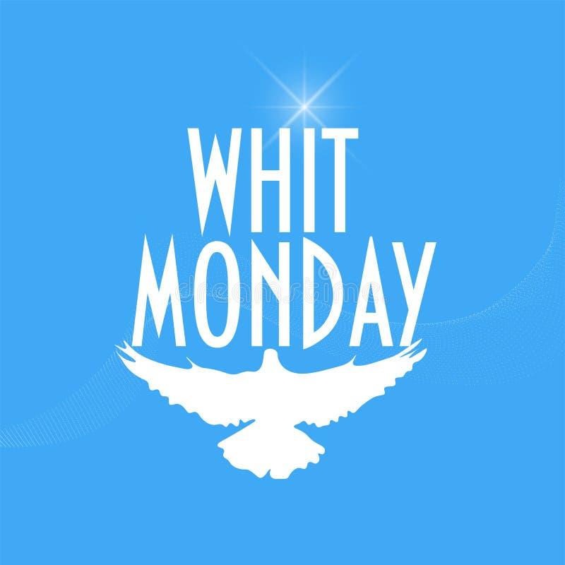 与鸽子或鸠剪影的例证:圣灵的亦称丝毫星期一或Pentecost星期一星期一 库存例证