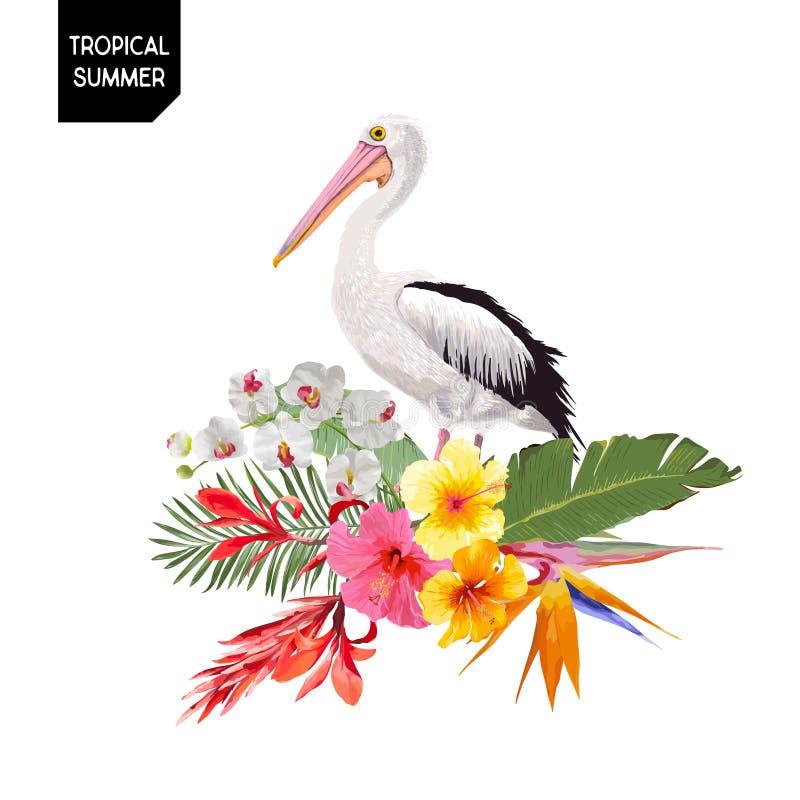 与鹈鹕鸟和异乎寻常的花的热带夏天设计 与热带植物和棕榈叶的Waterbird T恤杉的 库存例证
