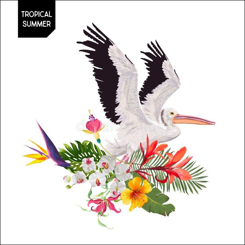 与鹈鹕鸟和异乎寻常的花的热带夏天设计 与热带植物和棕榈叶的Waterbird T恤杉的 皇族释放例证