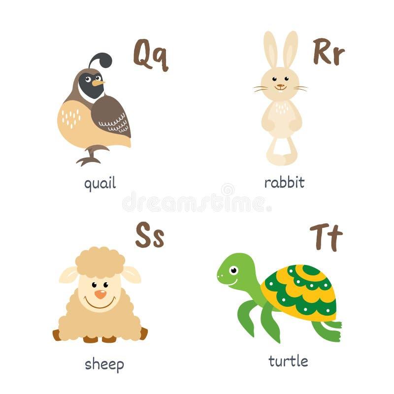 与鹌鹑兔子绵羊乌龟字符的动物字母表 库存例证