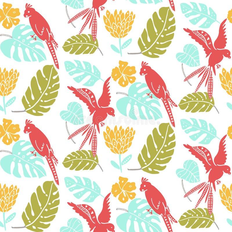 与鹦鹉和棕榈叶的热带无缝的背景 织品设计的夏天纹理 时髦黄色,桃红色,绿色 向量例证